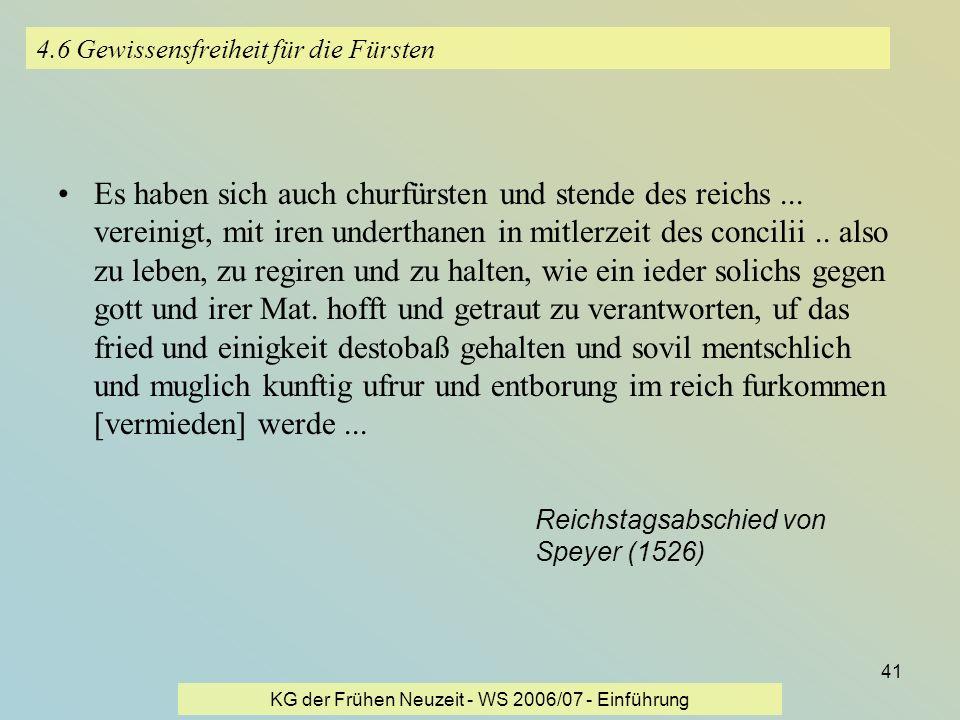 4.6 Gewissensfreiheit für die Fürsten