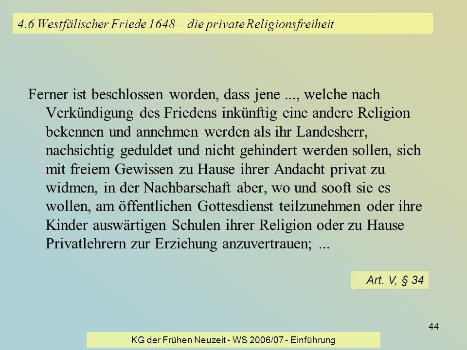 4.6 Westfälischer Friede 1648 – die private Religionsfreiheit