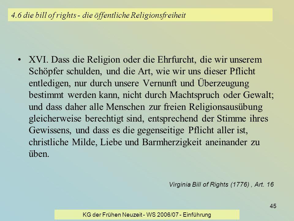 4.6 die bill of rights - die öffentliche Religionsfreiheit