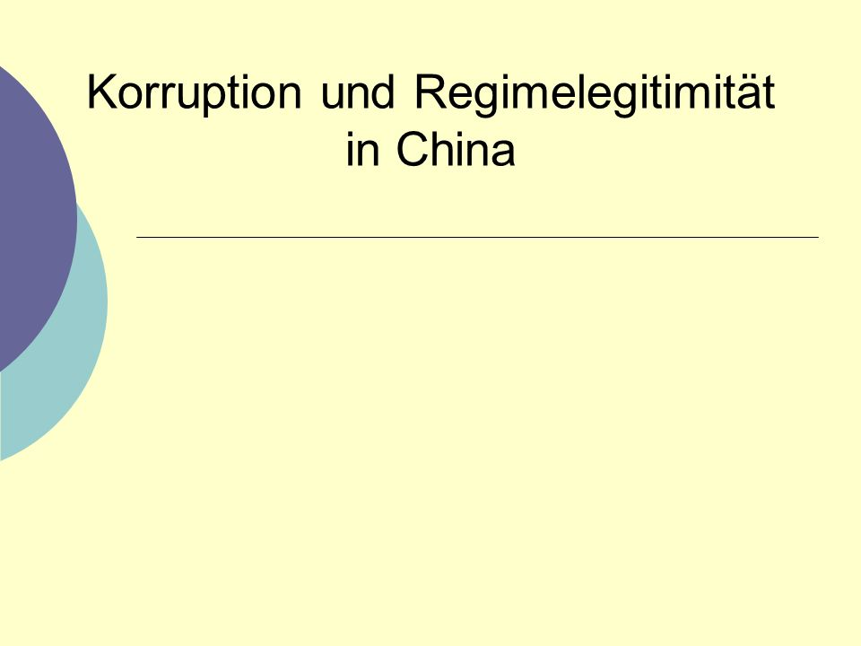 Korruption und Regimelegitimität in China