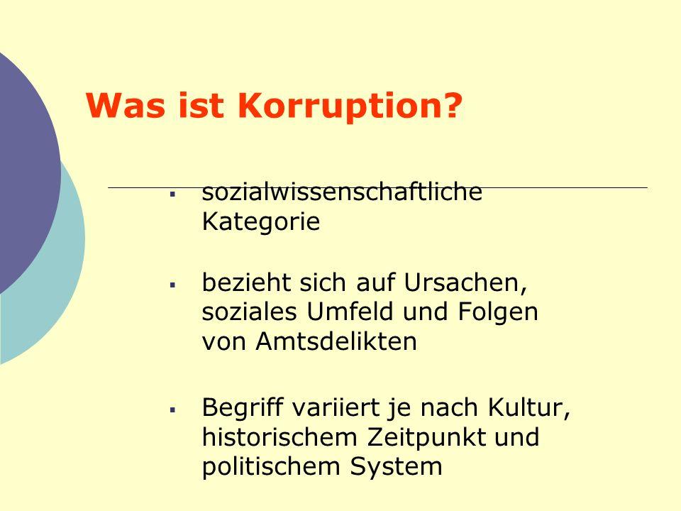 Was ist Korruption sozialwissenschaftliche Kategorie