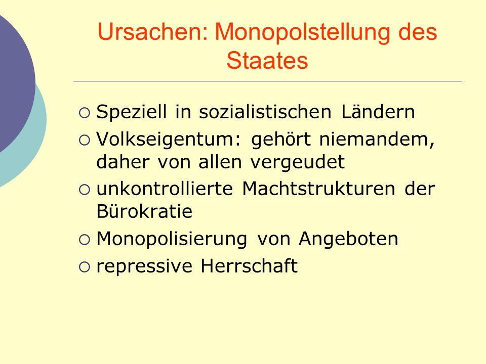 Ursachen: Monopolstellung des Staates