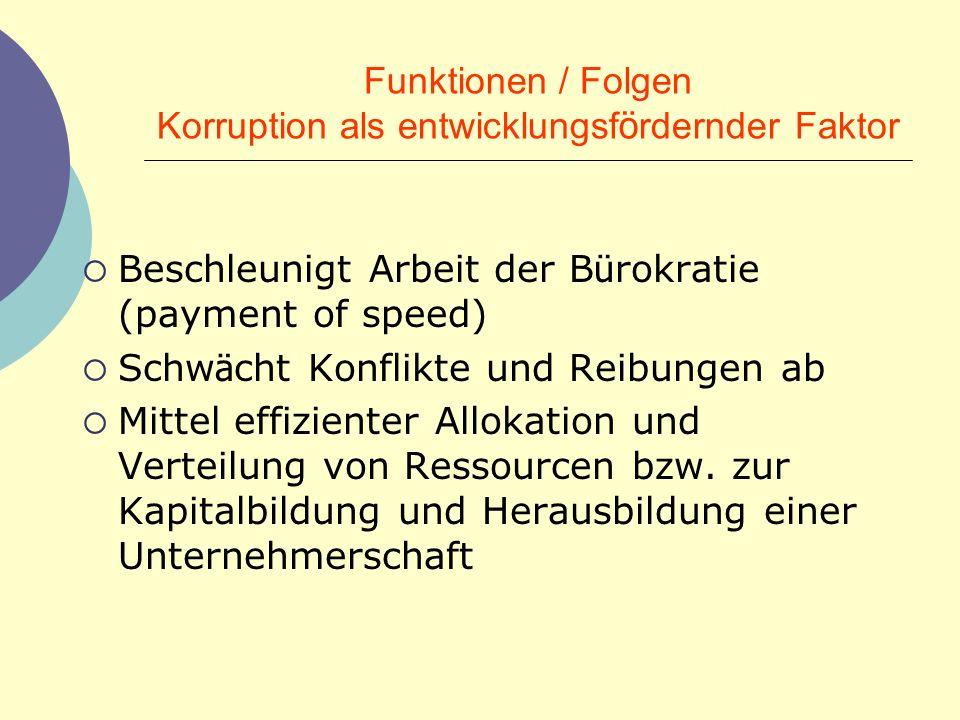 Funktionen / Folgen Korruption als entwicklungsfördernder Faktor