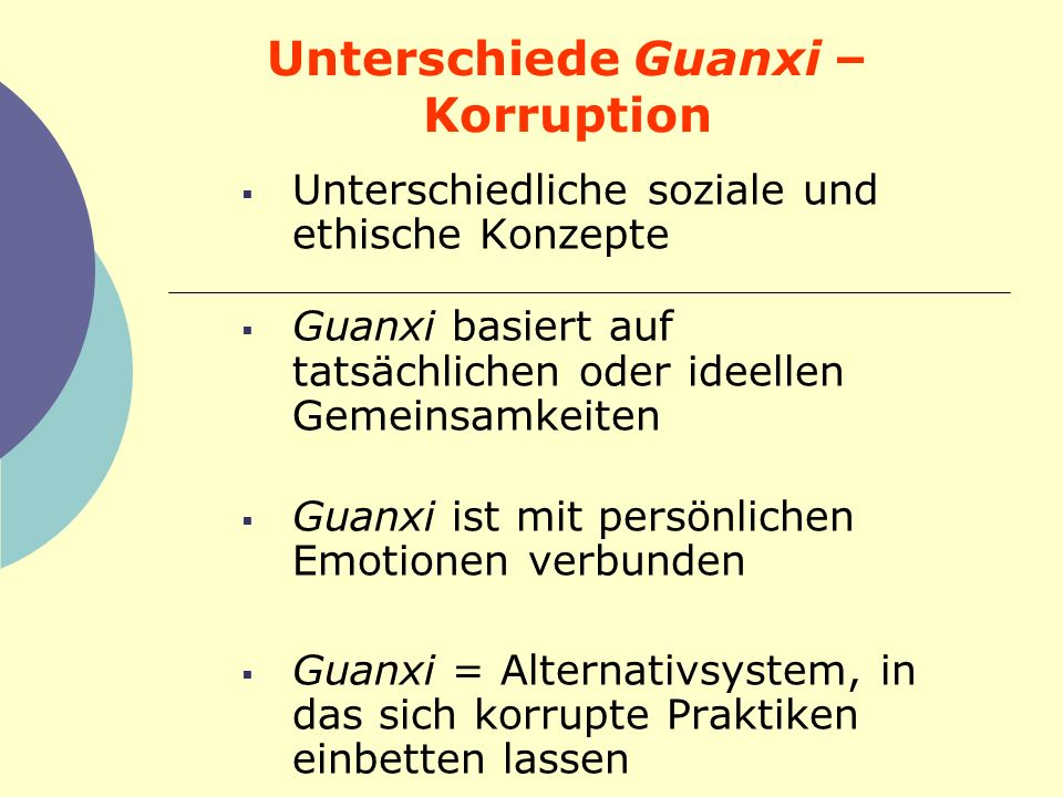 Unterschiede Guanxi – Korruption