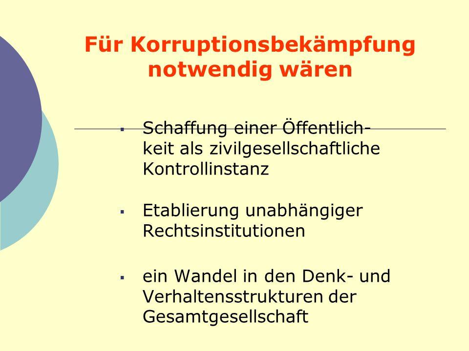 Für Korruptionsbekämpfung notwendig wären