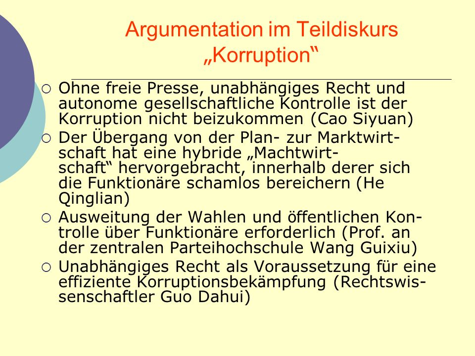 "Argumentation im Teildiskurs ""Korruption"