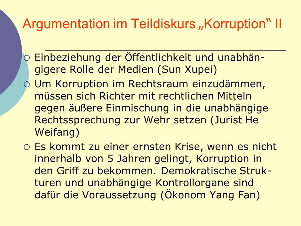 "Argumentation im Teildiskurs ""Korruption II"