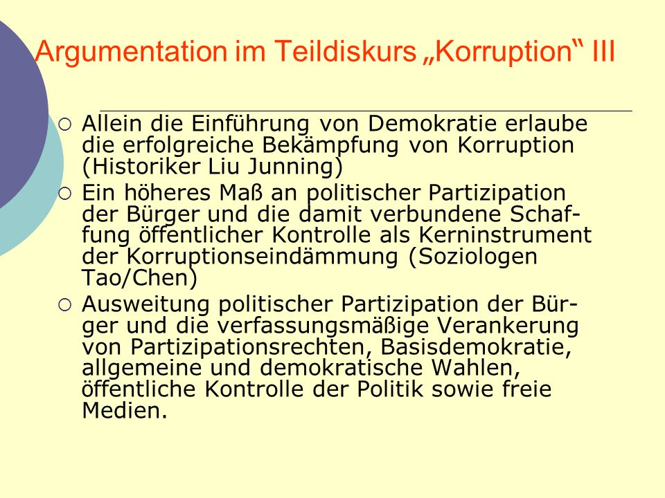 "Argumentation im Teildiskurs ""Korruption III"