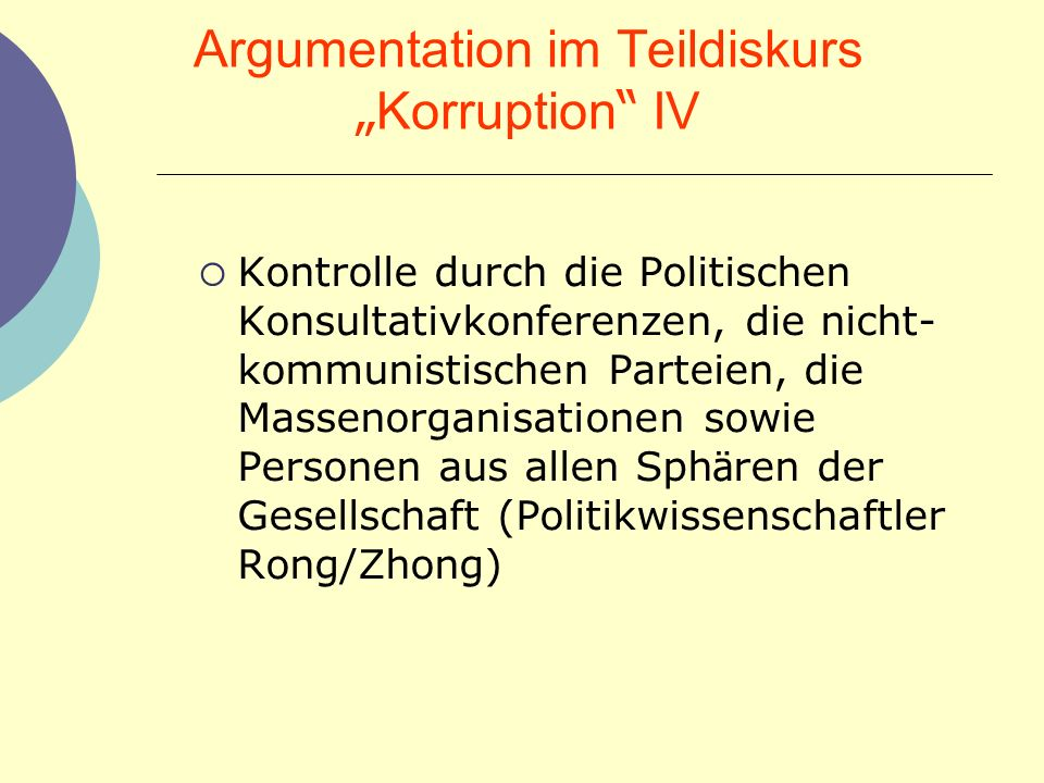 "Argumentation im Teildiskurs ""Korruption IV"