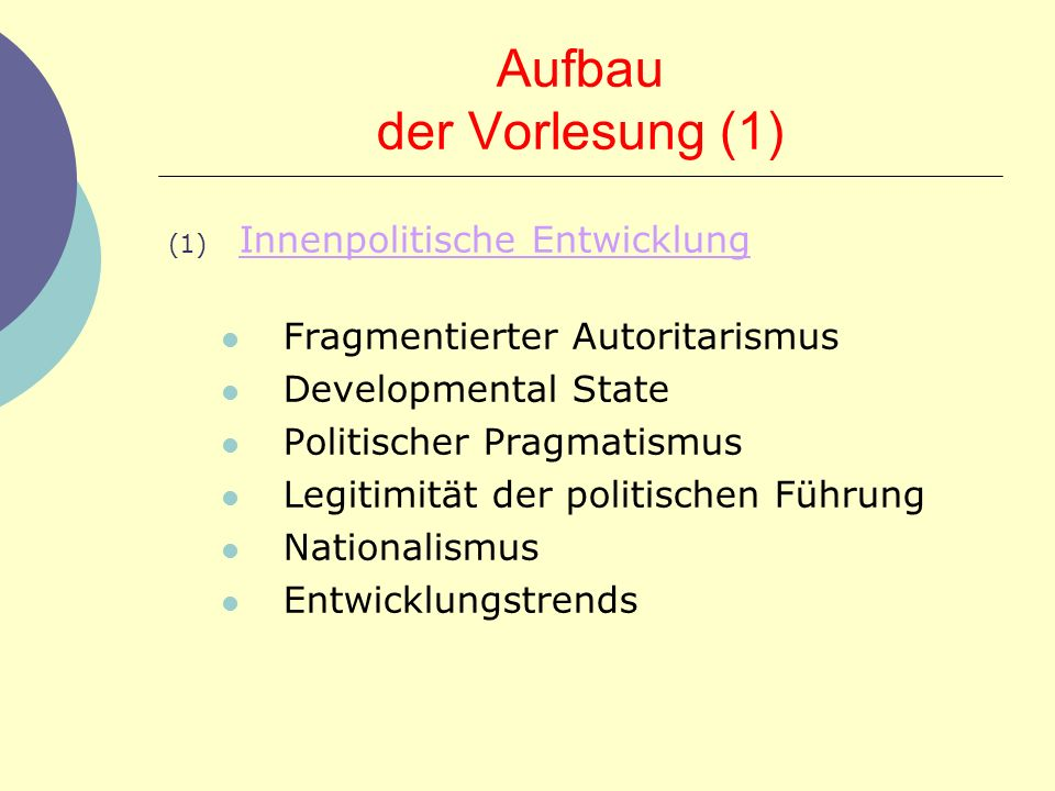 Aufbau der Vorlesung (1)