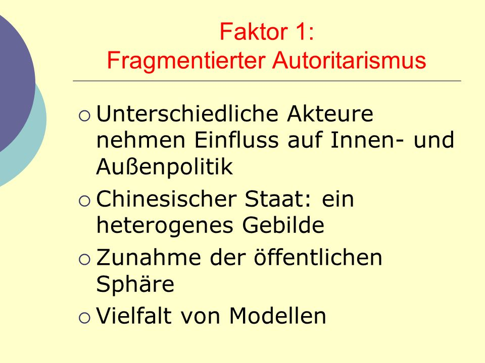 Faktor 1: Fragmentierter Autoritarismus
