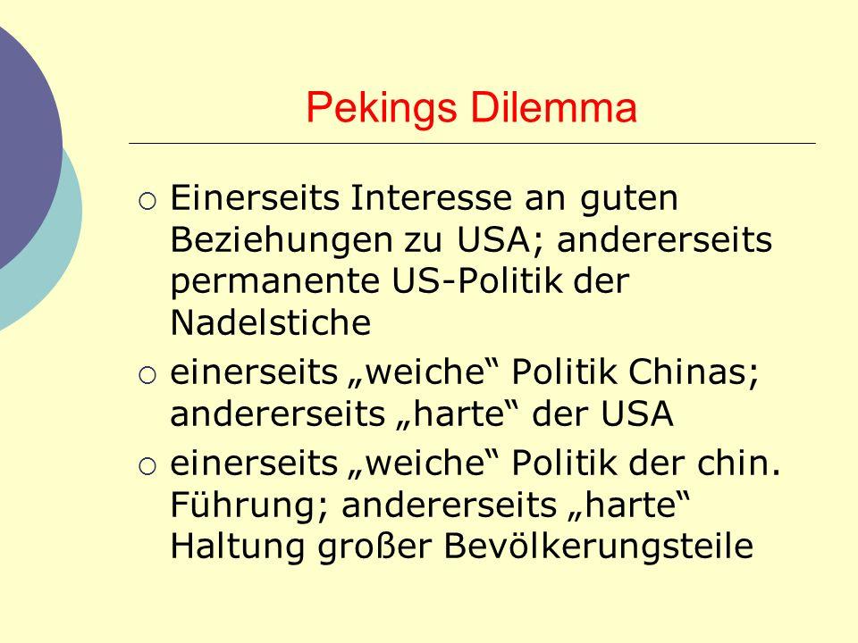 Pekings Dilemma Einerseits Interesse an guten Beziehungen zu USA; andererseits permanente US-Politik der Nadelstiche.