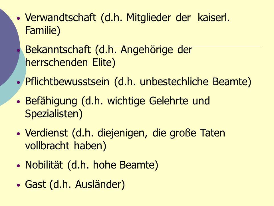 Verwandtschaft (d.h. Mitglieder der kaiserl. Familie)
