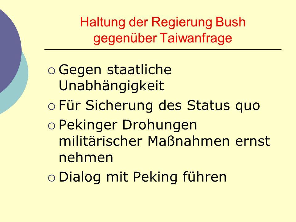 Haltung der Regierung Bush gegenüber Taiwanfrage