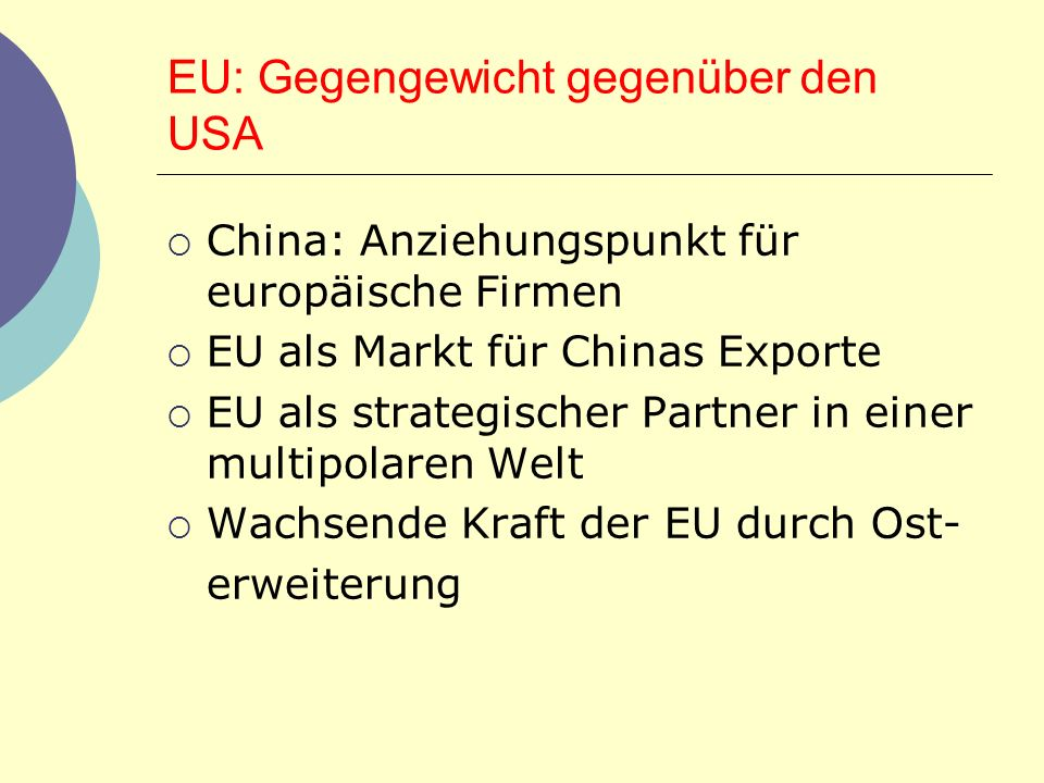 EU: Gegengewicht gegenüber den USA