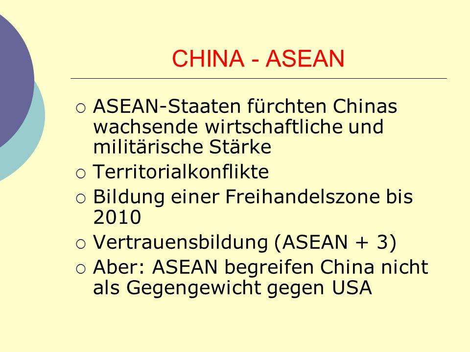 CHINA - ASEAN ASEAN-Staaten fürchten Chinas wachsende wirtschaftliche und militärische Stärke. Territorialkonflikte.
