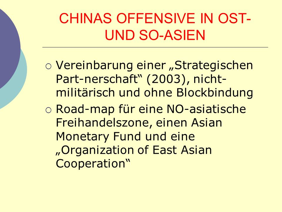 CHINAS OFFENSIVE IN OST- UND SO-ASIEN