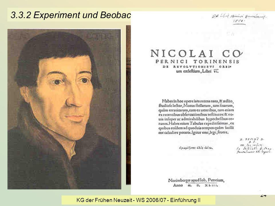 3.3.2 Experiment und Beobachtung - Kopernikus
