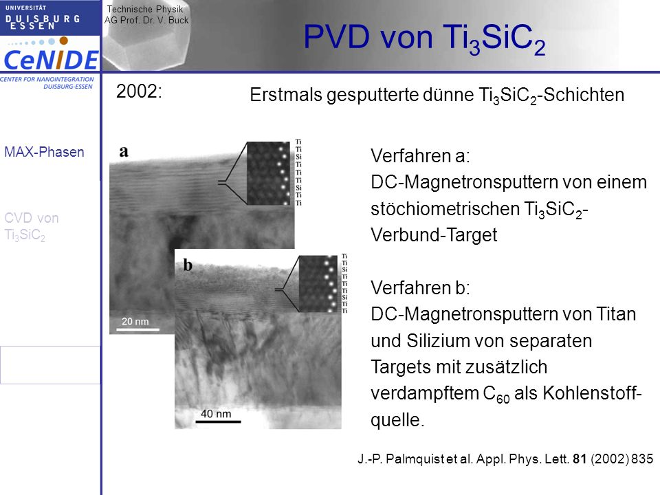 PVD von Ti3SiC2 2002: Erstmals gesputterte dünne Ti3SiC2-Schichten