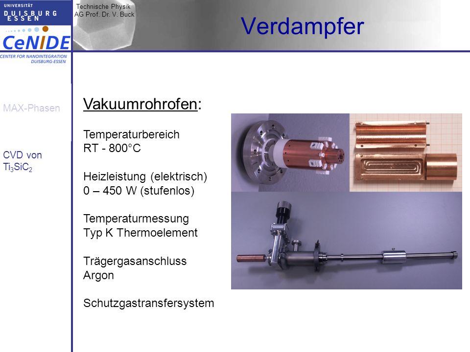 Verdampfer Vakuumrohrofen: Temperaturbereich RT - 800°C