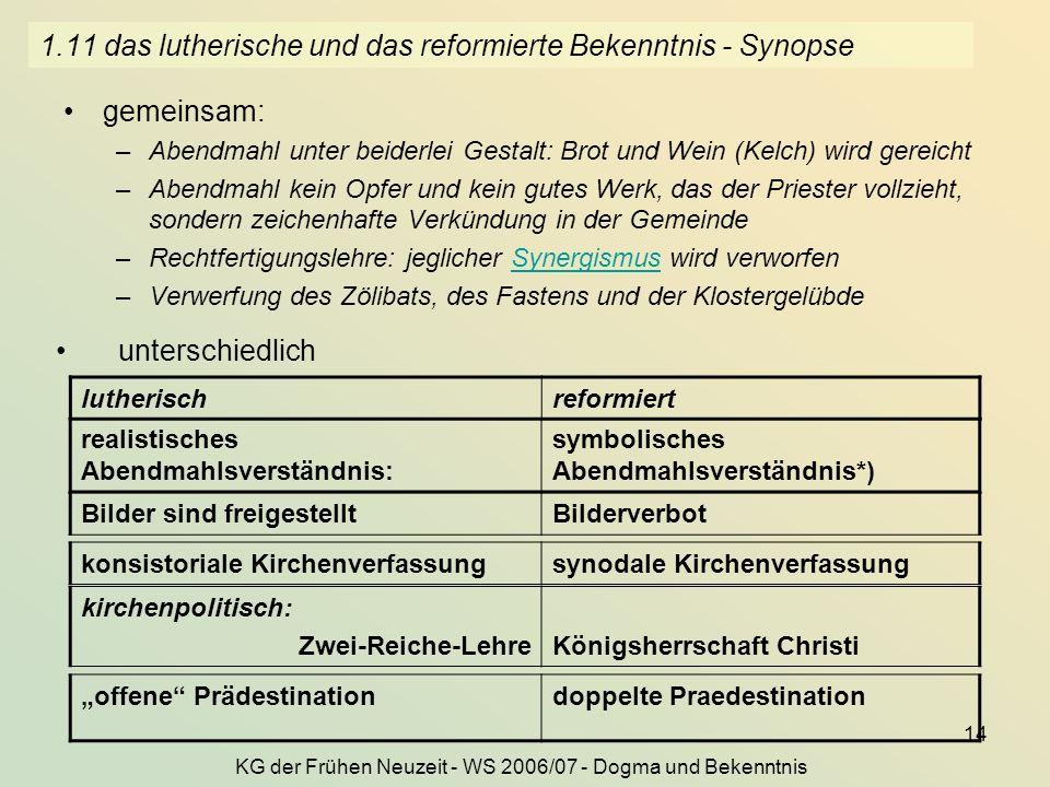 1.11 das lutherische und das reformierte Bekenntnis - Synopse