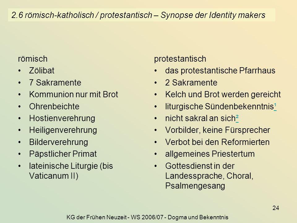 2.6 römisch-katholisch / protestantisch – Synopse der Identity makers