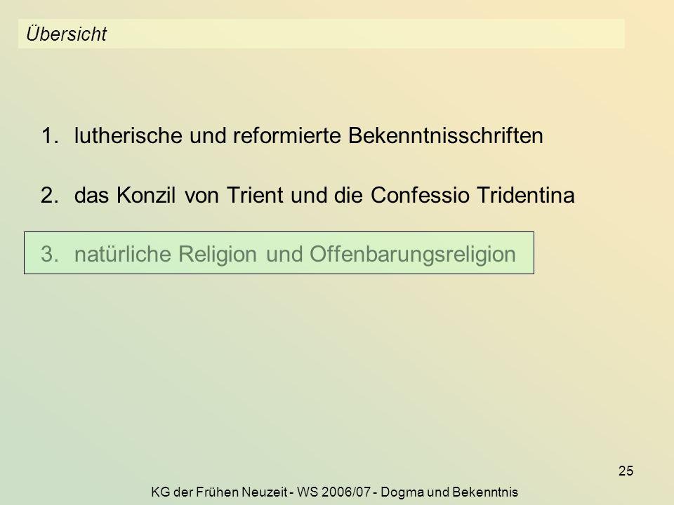 KG der Frühen Neuzeit - WS 2006/07 - Dogma und Bekenntnis
