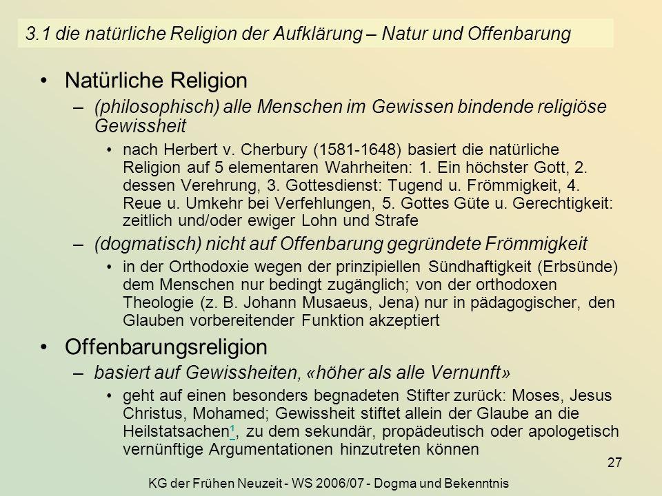 3.1 die natürliche Religion der Aufklärung – Natur und Offenbarung