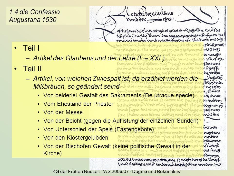 1.4 die Confessio Augustana 1530
