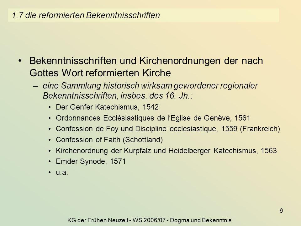 1.7 die reformierten Bekenntnisschriften