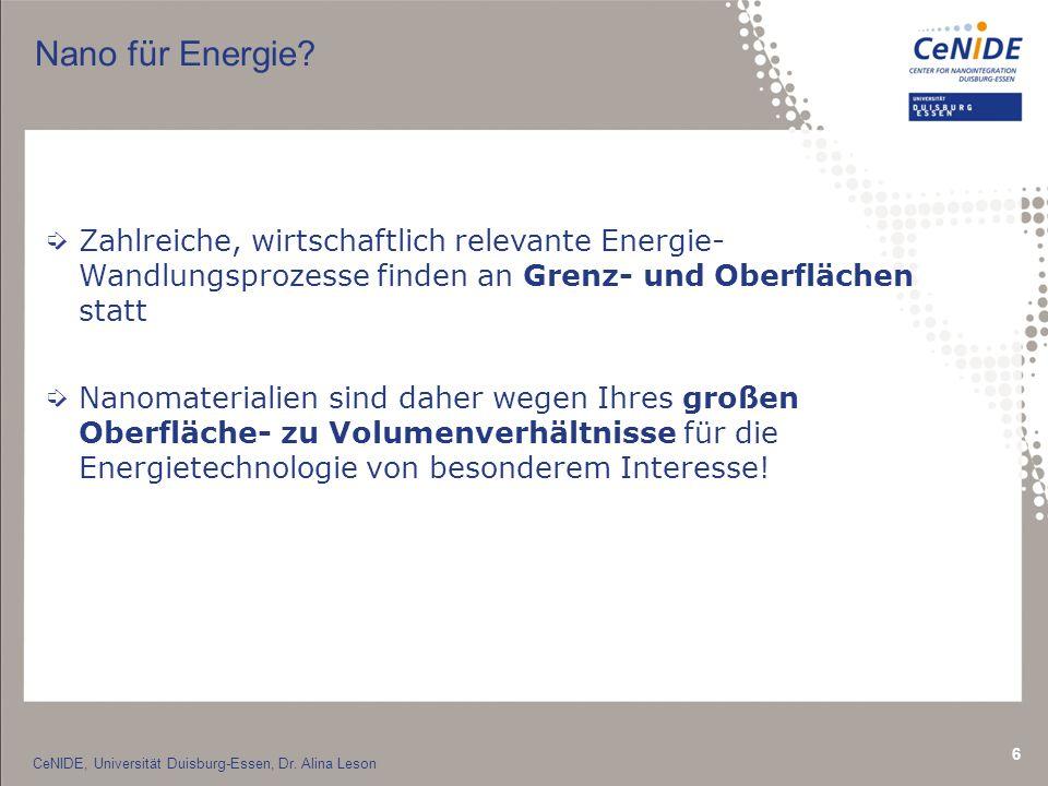 Nano für Energie Zahlreiche, wirtschaftlich relevante Energie- Wandlungsprozesse finden an Grenz- und Oberflächen statt.