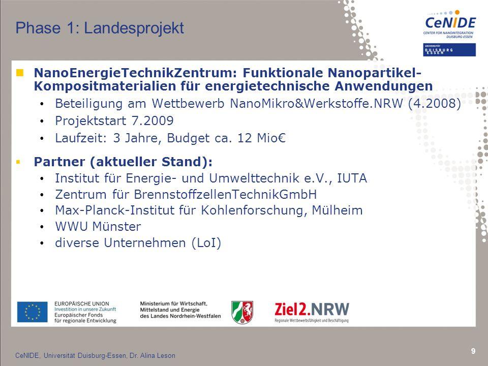 Phase 1: Landesprojekt NanoEnergieTechnikZentrum: Funktionale Nanopartikel- Kompositmaterialien für energietechnische Anwendungen.