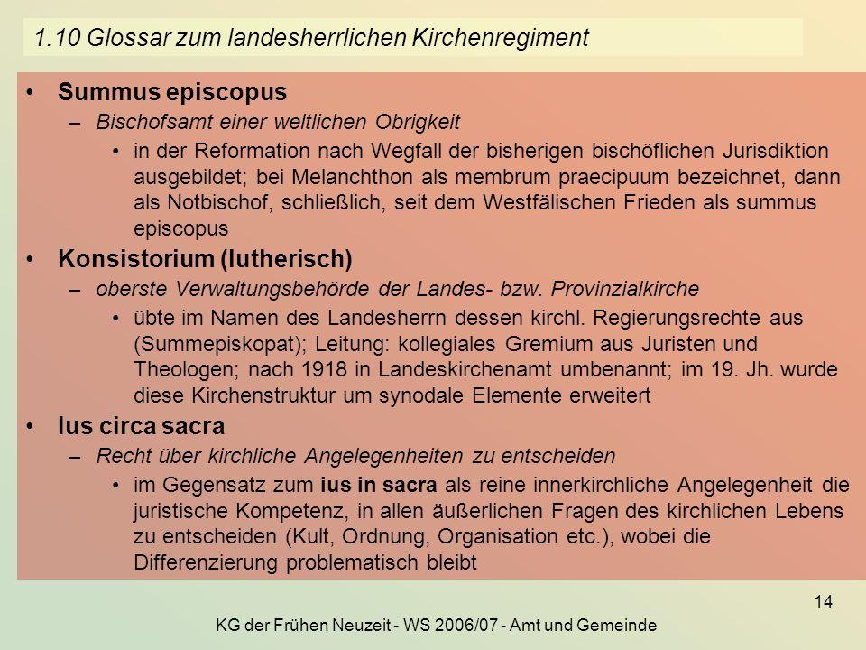 1.10 Glossar zum landesherrlichen Kirchenregiment