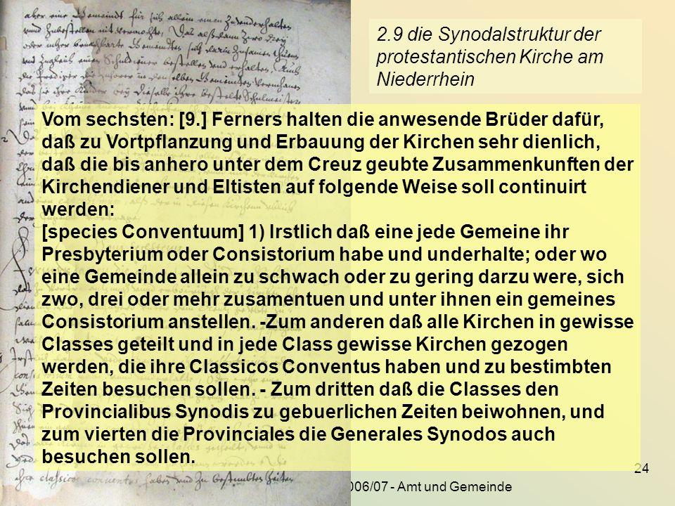 2.9 die Synodalstruktur der protestantischen Kirche am Niederrhein