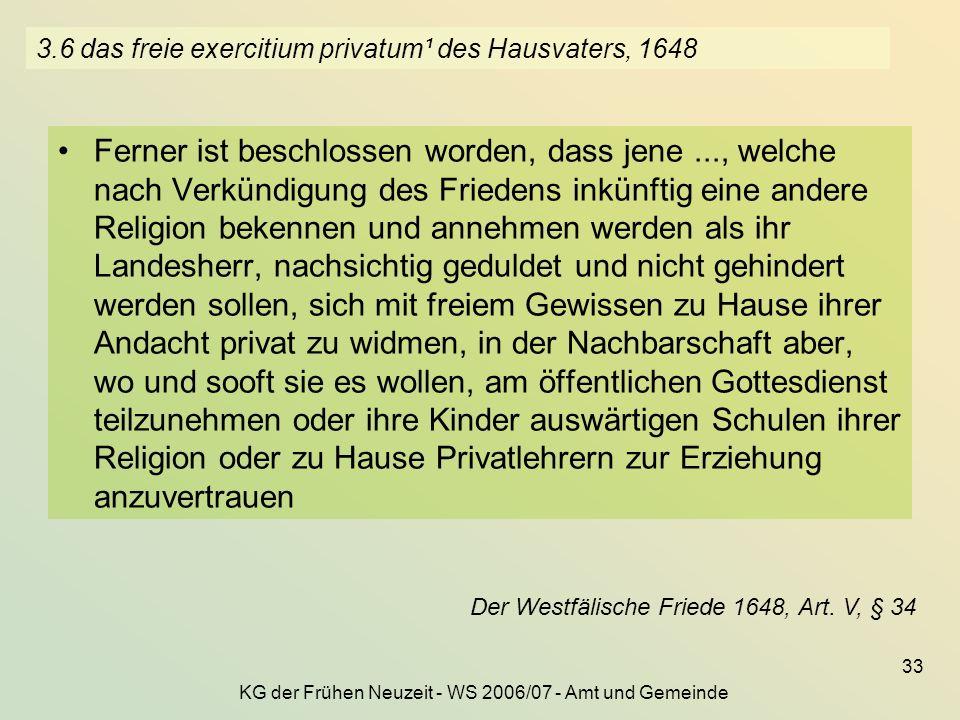 3.6 das freie exercitium privatum¹ des Hausvaters, 1648