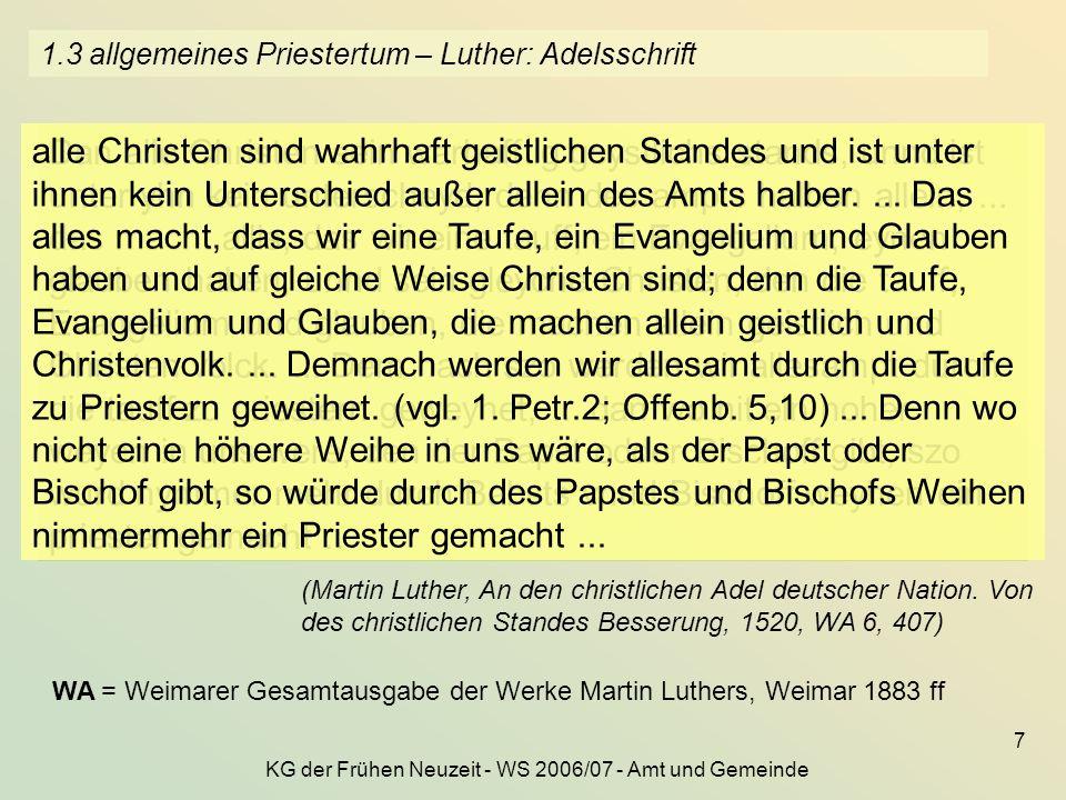1.3 allgemeines Priestertum – Luther: Adelsschrift