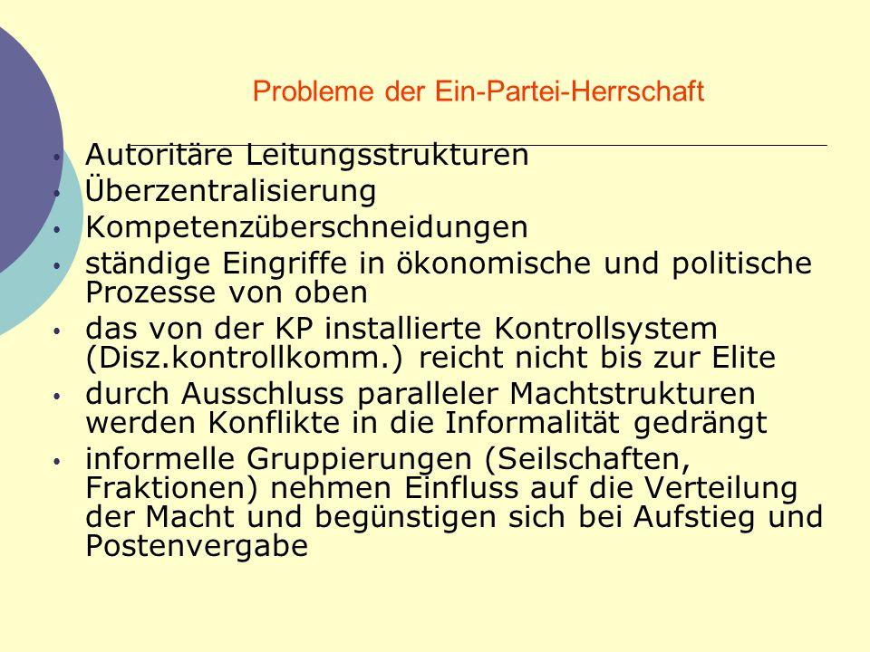 Probleme der Ein-Partei-Herrschaft