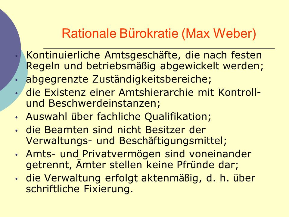 Rationale Bürokratie (Max Weber)