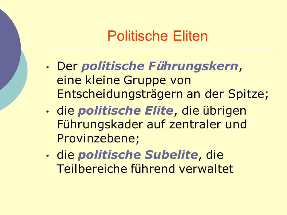 Politische Eliten Der politische Führungskern, eine kleine Gruppe von Entscheidungsträgern an der Spitze;