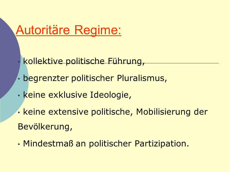 Autoritäre Regime: kollektive politische Führung,