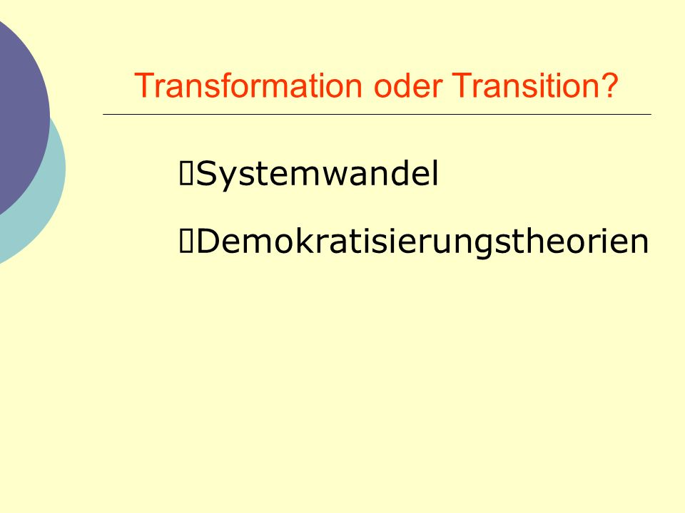 Transformation oder Transition