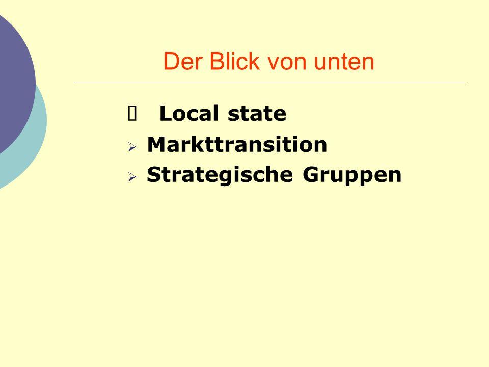 Der Blick von unten Ø Local state Markttransition Strategische Gruppen