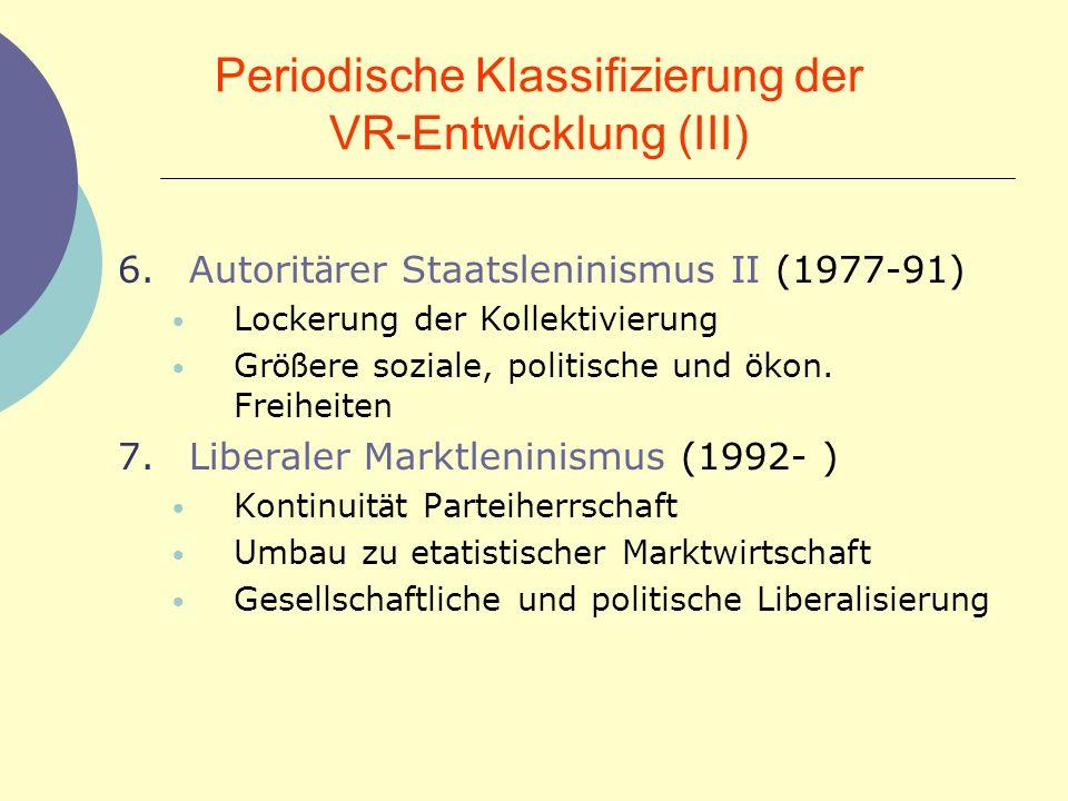 Periodische Klassifizierung der VR-Entwicklung (III)