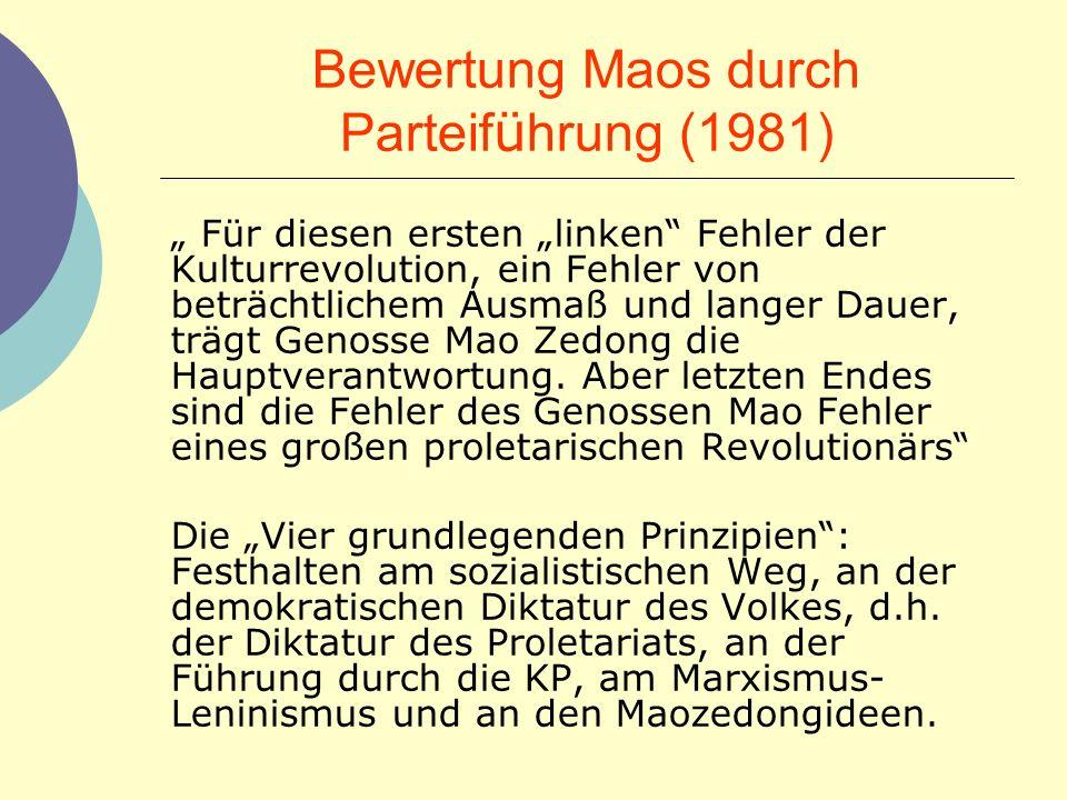Bewertung Maos durch Parteiführung (1981)
