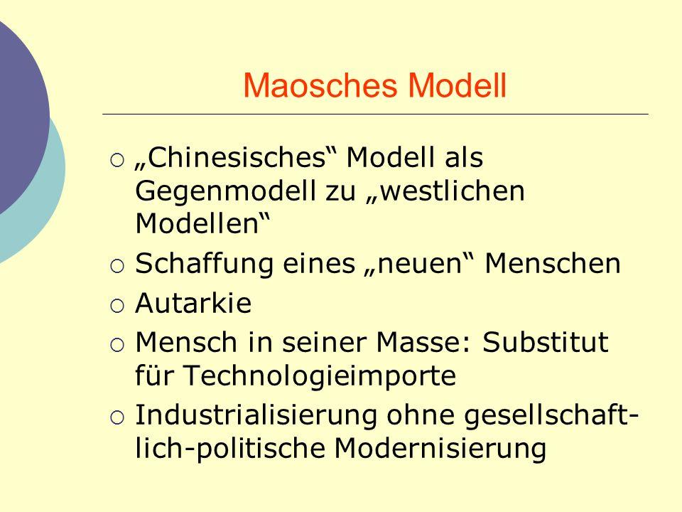 """Maosches Modell """"Chinesisches Modell als Gegenmodell zu """"westlichen Modellen Schaffung eines """"neuen Menschen."""