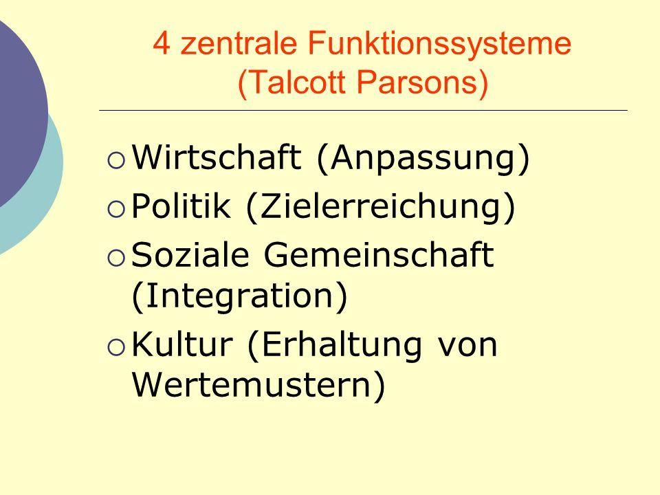 4 zentrale Funktionssysteme (Talcott Parsons)