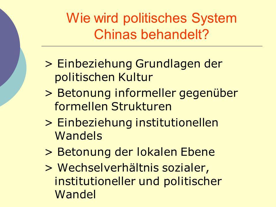 Wie wird politisches System Chinas behandelt