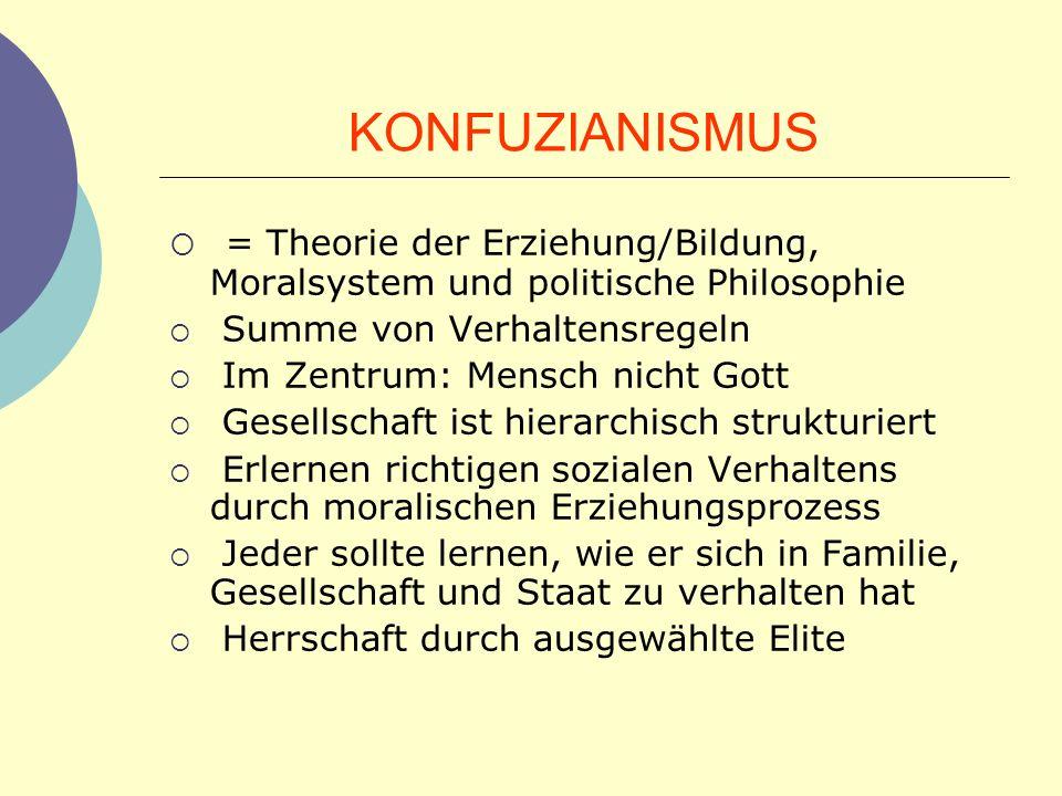 KONFUZIANISMUS = Theorie der Erziehung/Bildung, Moralsystem und politische Philosophie. Summe von Verhaltensregeln.