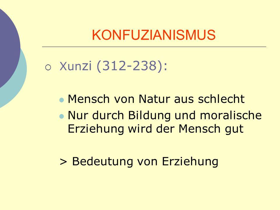 KONFUZIANISMUS Xunzi (312-238): Mensch von Natur aus schlecht