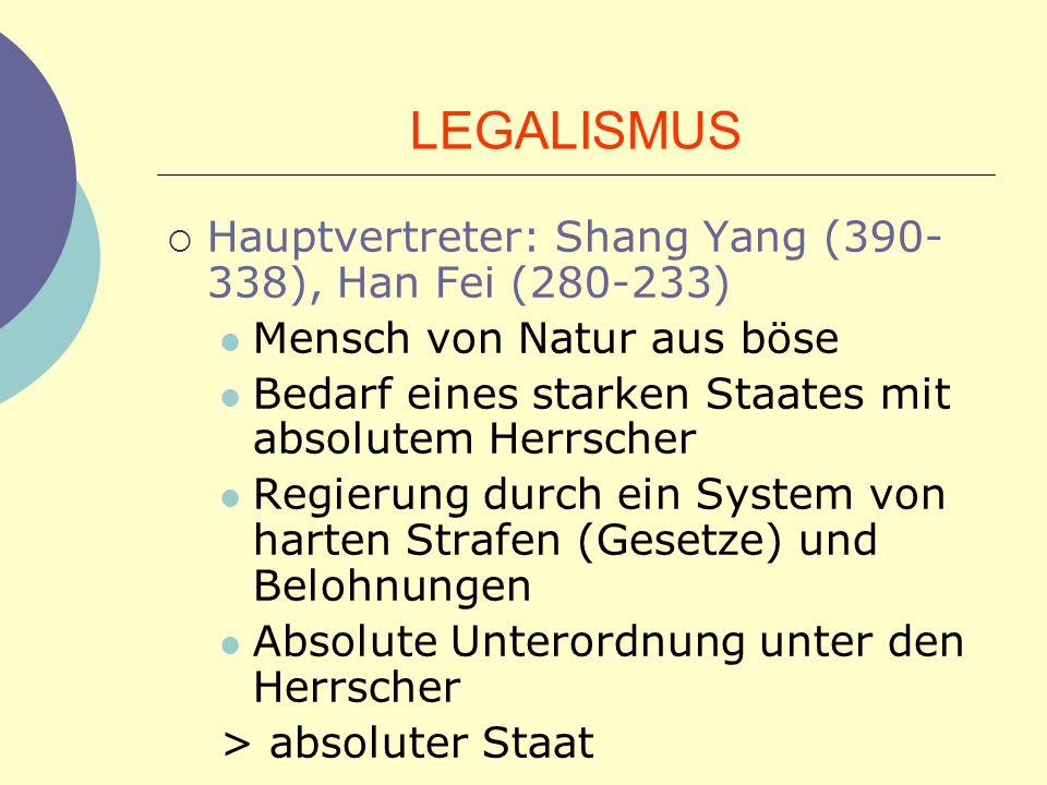 LEGALISMUS Hauptvertreter: Shang Yang (390-338), Han Fei (280-233)